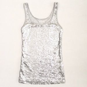 ⚡️$5⚡️Old Navy | Grey with Silver Sequins Tank-Top